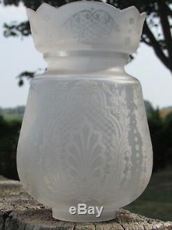 07e3 Ancienne Tulipe De Lampe A Pétrole Cristal Baccarat / St Louis Dégagé Acide