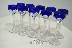 10 SUPERBES VERRES à LIQUEUR cristal overlay BLEU St Louis début XXe