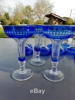 12 Flûtes Champenoises Cristal Overlay Bleues Baccarat ou Saint Louis