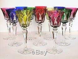 12 VERRES A VIN SAINT LOUIS CAMARGUE ROEMER Cristal taillé doublé de couleur