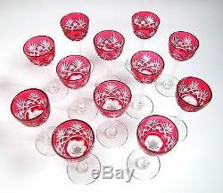 12 Verres à Liqueur sur Pied Massenet en Cristal Taillé de Saint Louis Roemer