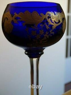 1 Verre A Vin Couleur Bleu Cobalt Roemer Cristal St Louis Modele Massenet Gold