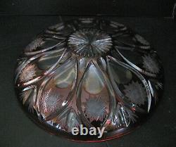2973 grand plat creux en cristal taillé bordeaux de saint louis bohème