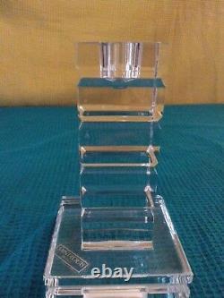 2 Bougeoirs de table en cristal modèle ADIANTE signé SAINT LOUIS