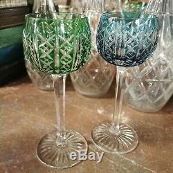 2 Verres A Vin Du Rhin Roemer Cristal Signes Saint Louis