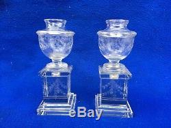 2 bougeoirs en cristal taillé 19em Baccarat Saint-Louis Candlestick vase