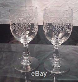 2 verre (mariage) à vin tête à tête cristal gravé curs Baccarat ou Saint Louis