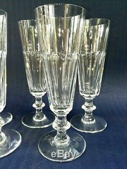 5 Flûtes A Champagne En Cristal Soufflé Taillé Saint Louis Modèle Caton
