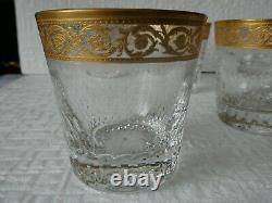 5 Gobelets En Cristal De St Louis Thistle Or Signes