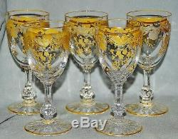 5 Sherry Fortifiés Saint-Louis, Massenet Or, Cristal, Décoration Dorée, 12 CM