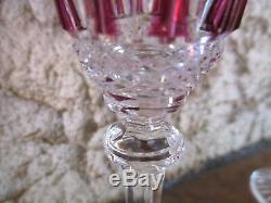 5 verres à liqueur Tommy, cristal Saint Louis. Verres Colorés, doublé overlay