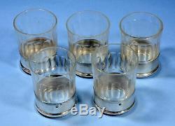5 verres cristal cordial porto bague argent massif minerve saint louis