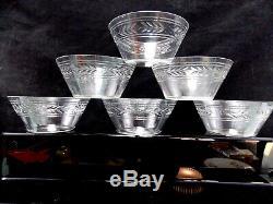 6 Beaux Bols Rince Doigts En Cristal Taillés-lauriers Baccarat Ou Saint Louis