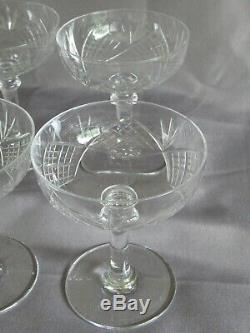 6 Coupes Champagne Cristal SAINT LOUIS signé Model Chantilly