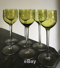 6 Magnifiques Verres Roemers En Cristal Cet De Saint-Louis 18 Cm