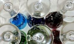 6 Verres A Pied En Cristal De St Louis Bubbles Estampille En Couleur Roemer
