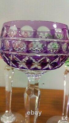 6 Verres A Vin Cristal De Couleur Lorraine Saint Louis