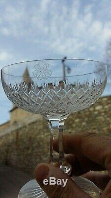 6 Verres à champagne en cristal de Saint Louis, modèle Océan