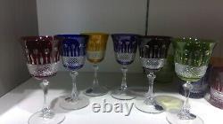 6 Verres en cristal couleurs roemer style Tommy de Saint Louis