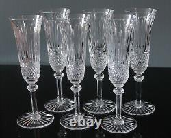 6 flûtes à champagne en cristal de saint louis modèle TOMMY H 20,5 cm signés