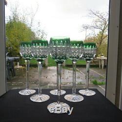 6 grand verres roemer en cristal de saint louis de couleur verte signé H 23,8 cm