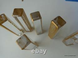 6 portes couteaux dans la boite Saint St Louis Cristal Thistle Or signé