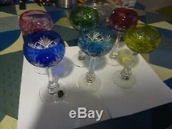 6 très beaux verres en cristal de st louis de couleur 2 signés avec etiquettes