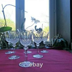 6 verres à bourgogne en cristal de saint louis modèle tommy signé H 17 cm