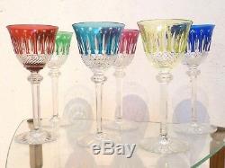 6 verres à eau de couleur en cristal SAINT LOUIS modèle TOMMY (grand modèle)
