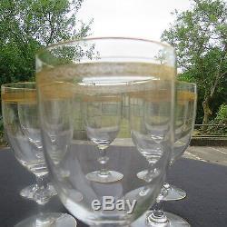 6 verres à eau en cristal de saint louis service Talma décor Gold type thistle