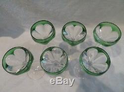 6 verres à vin cristal saint louis overlay vert bristol crystal wine glasses