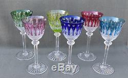 6 verres à vin de couleur en cristal taillé Saint-Louis modèle Tommy estampillé