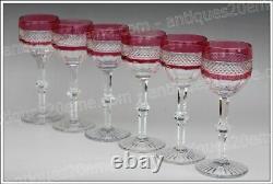 6 verres à vin du Rhin (Roemer) en cristal de Saint Louis modèle Trianon NEUFS