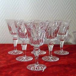 6 verres à vin rouge cristal de Saint Louis signé modèle Camargue