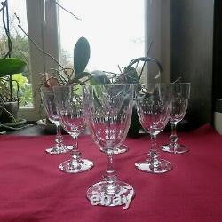 6 verres a vin rouge en cristal saint louis modèle Massenet a cote plate signé