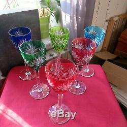 6 verres roemer de couleur en cristal de saint louis modèle chantilly en boite