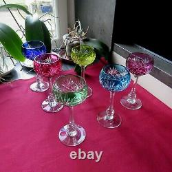 6 verres roemer en cristal en couleur de saint louis modèle Massenet