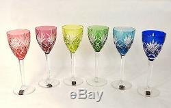 6 verres vin Rhin Roemers cristal Saint-Louis couleur modèle Chantilly XXè