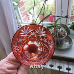 7 verres a liqueur de couleur en cristal doublé saint louis modèle tivoli H 12,1