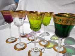 8 Roemers différentes couleurs St Louis Cristal Thistle Or 20.8cm parfait état