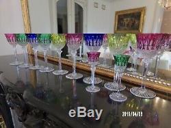 9 Verres cristal st Louis Tommy signé H 19.8 cm + 2 verres liqueur signé