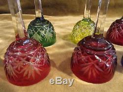 9 verres liqueur cristal overlay saint louis Massenet crystal liquor glasses
