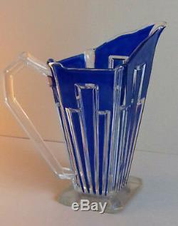 ART DECO 1930 vase pichet cristal décor bleu vintage Saint Louis ou Baccarat
