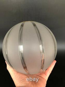 Ancien Globe Lampe Petrole Cristal Gravé Baccarat Saint Louis