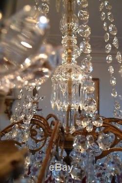 Ancien Grand Lustre A 8 Bras Pampilles Cristal Bronze XX Siecle St Louis XVI
