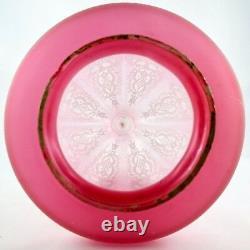 Ancien Lustre/Suspension Cristal Rose Givré, shade lamp/baccarat/saint louis