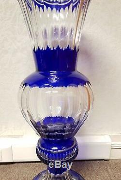 Ancien Vase Cristal Baccarat St Louis 60 CM Bleu Cobalt Cristal De Boheme Signe