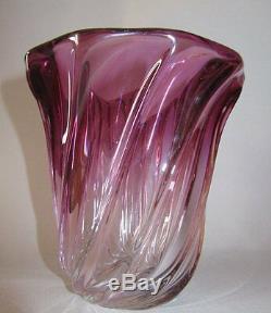 Ancien Vase En Cristal Saint Louis Baccarat Rose Vers 1900 Bambou