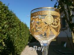 Ancien Verre A Vin Roemer Cristal St Louis Modele Congress Or Gold Epoque 1920