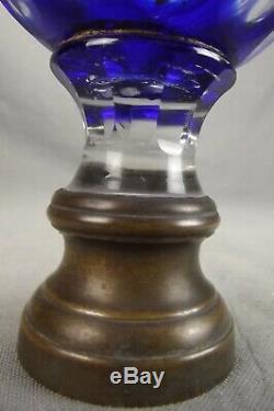 Ancienne Boule Descalier En Cristal Bleu A Facettes Baccarat Ou Saint Louis